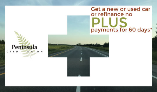 Photo of a road promoting a new auto loan with no payments for 60 days.
