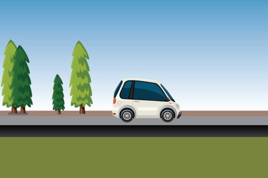 Cartoon car on a road