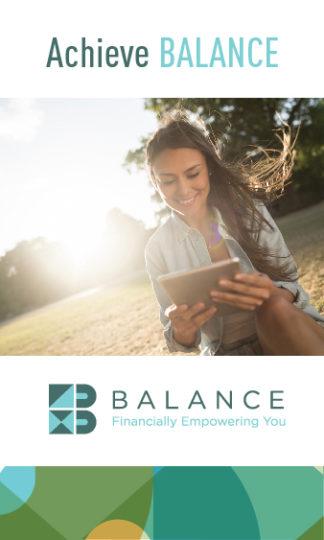 Girl holding iPad, ad with BALANCE logo