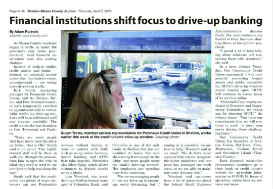 Newspaper article about shifting our business to drive up