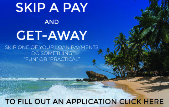 Summer skip a pay graphic with beach