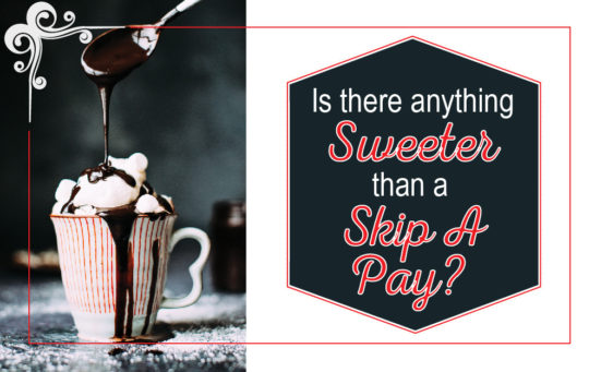 Skip a Pay graphic with a hot cocoa