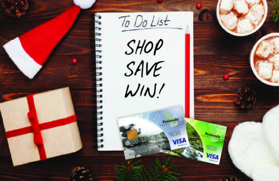 christmas emelents with words on a To do list that say Shop Save Win
